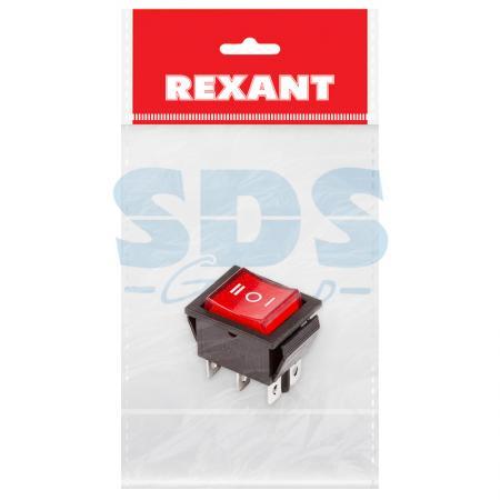 Выключатель клавишный 250V 15А (6с) ON-OFF-ON красный с подсветкой и нейтралью (RWB-509, SC-767) REXANT Индивидуальная упаковка 1 шт
