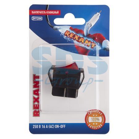 Выключатель клавишный 250V 16А (4с) ON-OFF красный с подсветкой (RWB-502, SC-767, IRS-201-1) REXANT (блистер)
