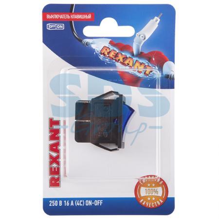 Выключатель клавишный 250V 16А (4с) ON-OFF синий с подсветкой (RWB-502, SC-767, IRS-201-1) REXANT (блистер)
