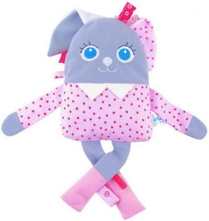 Мягкая игрушка заяц МЯКИШИ Мой Зайчик белый серый розовый текстиль