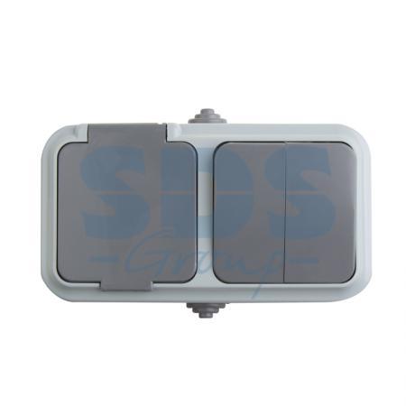 Выключатель двухклавишный + розетка влагозащищенная для открытой установки Rexant IP 54, выключатель 10 А,розетка б/з 16 А.
