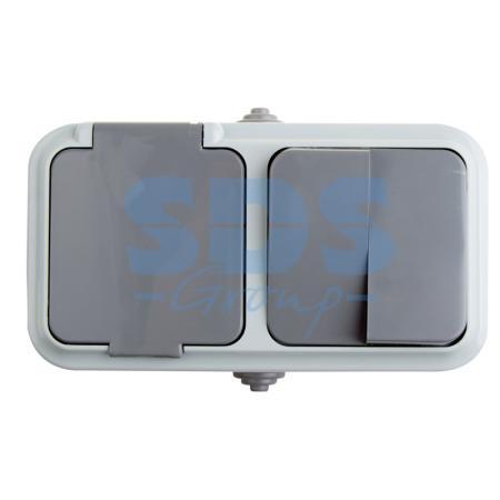Выключатель двухклавишный + розетка влагозащищенная для открытой установки Rexant IP 54, выключатель 10 А,розетка с/з 16 А.