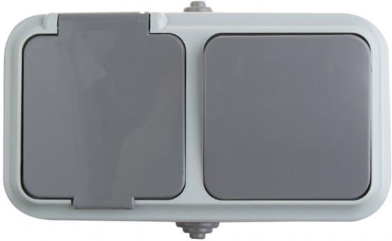 Выключатель одноклавишный + розетка влагозащищенная для открытой установки Rexant IP 54, выключатель 10 А,розетка с/з 16 А.
