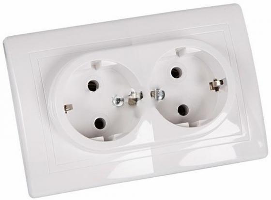 Розетка скрытой установки,двойная,с З/К,поликарбонат.Рамка,вставка,накладка белая,16A,250V.