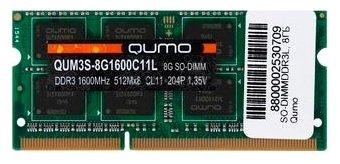 Оперативная память для ноутбука 8Gb (1x8Gb) PC3-12800 1600MHz DDR3L SO-DIMM CL11 QUMO QUM3S-8G1600C11L dimm ddr3l 4гб qumo