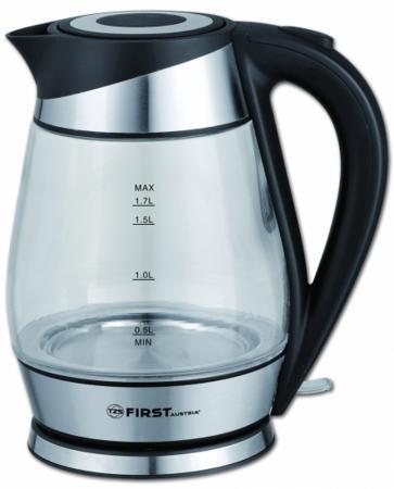 Чайник First FA-5405-2 2200 Вт прозрачный чёрный 1.7 л металл/стекло чайник first fa 5406 2200 вт чёрный 1 7 л пластик стекло