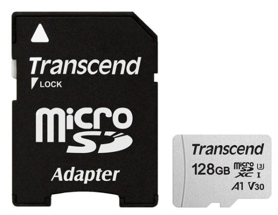Фото - Карта памяти micro SDXC 128Gb Transcend 300S UHS-I U3 V30 A1 + ADP (90/45 Mb/s) карта памяти sandisk micro sdxc 64gb extreme pro uhs i u3 v30 a2 adp 170 90 mb s