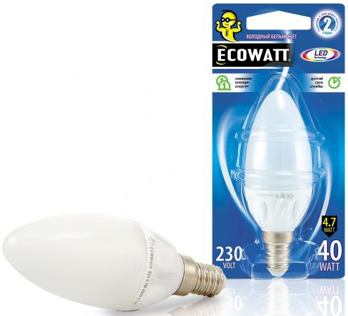 Лампа светодиод. ECOWATT B35 230В 4.7(40)W 4000K E14 (миньон) холодный белый свет, свеча лампа светодиод ecowatt b35 230в 4 7 40 w 4000k e14 миньон холодный белый свет свеча