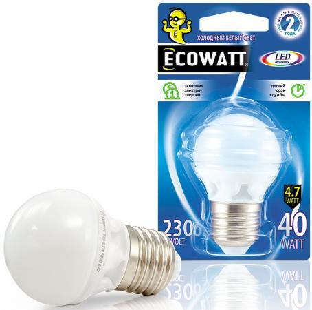 Купить Лампа светодиодная ECOWATT P45 230В 4.7(40)W 4000K E27 холодный белый свет, шарик