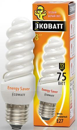 Лампа энергосберегающая ECOWATT M-FSP 15W 827 E27 тёплый белый свет витая, люминисцентная 39*108мм лампа энергосберегающая ecowatt fsp 40w 840 e27 холодный белый свет витая люминесцентная