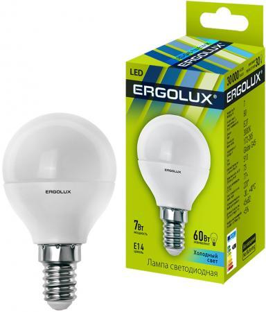 Лампа светодиодная ERGOLUX 12144 LED-G45-7W-E14-4K Шар 7Вт E14 4500K 172-265В 08138 e14 6w 4500k led g45 6w nw e14 fr alm01wh