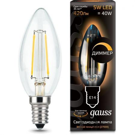 Лампа GAUSS 103801105-D led filament candle dimmable e14 5w 2700к 1/10/50 лампа светодиодная gauss 102802106 led filament а60 е27 6вт 2700к 1 10 40