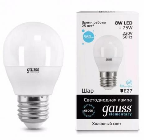 Лампа GAUSS 53238 led elementary globe 8w e27 6500k 1/10/100 ba9s 1 8w 6500k 144 lumen 18 3020 smd led white light car lamps dc 12 18v pair
