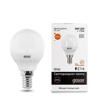 Лампа GAUSS 53118 led elementary globe 8w e14 2700k 1/10/100 gauss лампа gauss led elementary globe 6w e27 2700k 1 10 50