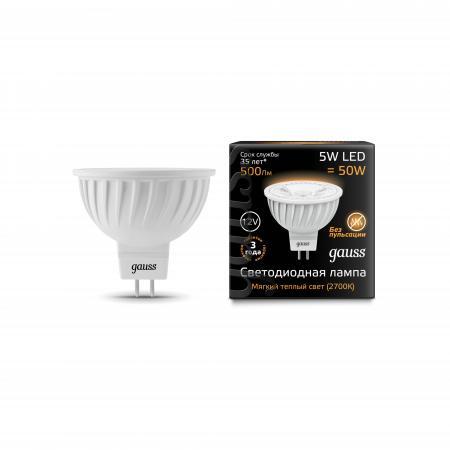 цена на Лампа светодиодная GAUSS 201505105 LED MR16 GU5.3 5W 12V 2700K