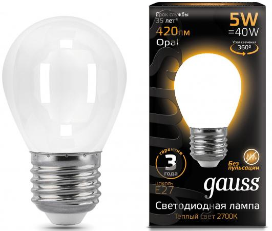 Лампа GAUSS 105202105 led filament globe opal e27 5w 2700k 1/10/50 gauss black filament led a60 opal e27 10w 4100к 102202210