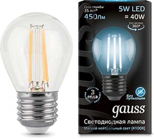 Лампа светодиодная GAUSS 105802205 LED Filament globe Е27 5Вт 4100k 1/10/50 usb флеш накопитель smartbuy v cut 32gb usb 2 0 sb32gbvc s