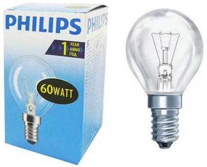 Лампа накаливания PHILIPS P45 60W E14 CL шарик прозрачный philips b35 60w e14 fr