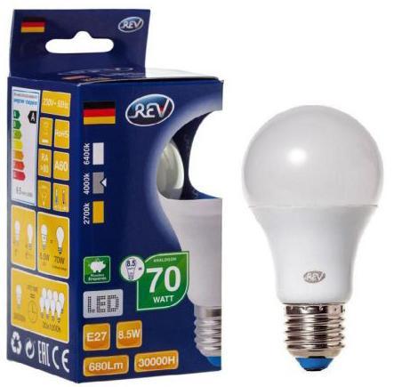 Лампа светодиодная REV RITTER 32380 8 8.5Вт E27 700лм 4000К холодный свет лампа светодиодная rev deco premium filament g45 32485 0 холодный свет цоколь e27 7 вт