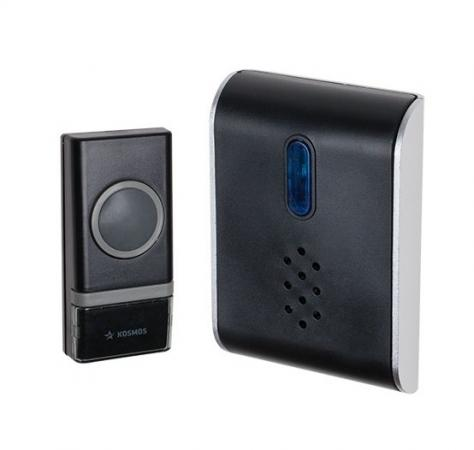Звонок дверной беспроводной КОСМОС AG512C черный светодиодный беспроводной перезвон дверной звонок дверной звонок