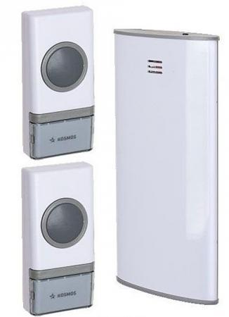 Звонок беспроводной КОСМОС KOC_AG307C2 32 мелодии, 150м, белый, 2 кнопки звонок мелодика б200 беспроводной на батарейках 3 мелодии