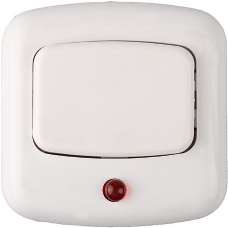 Кнопка СВЕТОЗАР 58303 с индикацией включения белый 220В звонок электрический с кнопкой светозар нота 58037