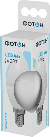 Лампа светодиодная ФОТОН B35 4W E14 4000K светодиодная лампа sunshine светодиодная трубка 0 3 метра светлая серия t5 встроенный кронштейн 4w 4000k нейтральный свет