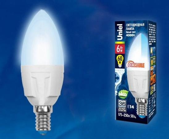 Лампа светодиодная UNIEL LED-C37-6W/NW/E14/FR/DIM PLP01WH диммируемая форма свеча матовая лампа светодиодная диммируемая 08689 e27 6w 4500k матовая led c37 6w nw e27 fr dim