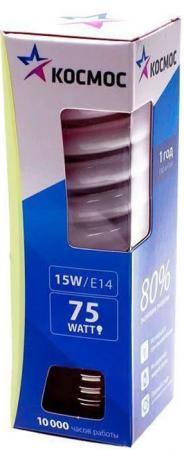 Лампа энергосберегающая КОСМОС 15Ватт 4200К Е14 Т2 лампа энергосберегающая космос свет теплый модель т2 spc 15w e1427