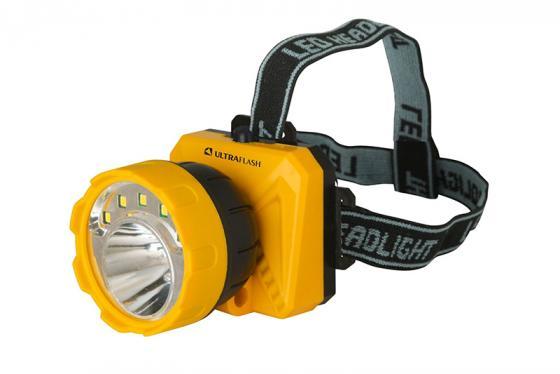 Фонарь налобный Ultraflash LED5372 чёрный желтый цена