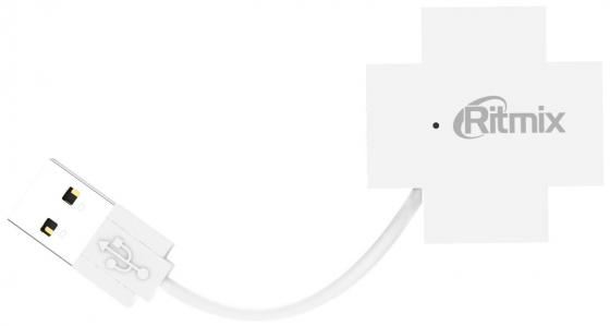 Концентратор USB 2.0 Ritmix CR-2404 4 x USB 2.0 белый ritmix cr 2406 black usb концентратор