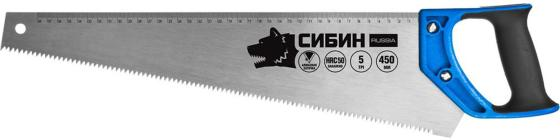 Ножовка по дереву (пила) СИБИН 450 мм, шаг 5 TPI (4,5 мм) [15055-45] ножовка armero as32 450