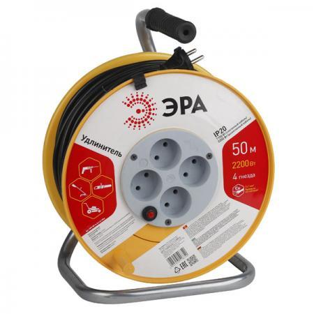 Удлинитель Эра Б0033023 4 розетки 50 м RP-4-3X1-50m удлинитель эра rp 4 2x0 75 40m