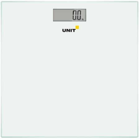 Весы напольные электронные UNIT UBS-2052, стекло, без рисунка, 150кг. 100гр. (Цвет: Белый) unit ubs 2052 белый