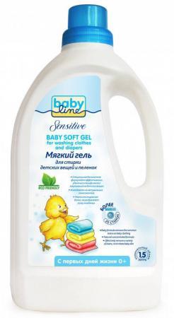 Мягкий гель Babyline Sensitive для стирки детских вещей и пеленок 1,5 л мягкий гель для стирки детских вещей и пеленок 1500 мл baby line безопасная детская бытовая химия
