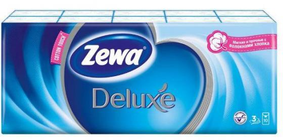 ZEWA Платки носовые Делюкс 3-ех слойные Фемали 10шт.х 10 носовые платки zewa delux 60 шт