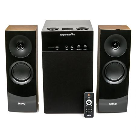 Колонки Dialog Progressive AP-250 BROWN 2.1, 50W+2*15W RMS, Караоке, Bluetooth, FM+USB+SD, Опт.вх. колонки dialog disco ad 07 2 0 brown 24 вт 20 20000 гц fm пульт ду mini jack usb micro sd mdf 220v