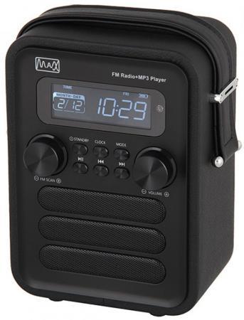 Радиоприемник MAX MR-340 black edition Дисплей с подсветкой, FM радио (87.5-108 МГц), MP3/WMA с USB/microSD, Часы/Будильник/Календарь. радиоприемник max mr 332 bluetooth fm радио mp3 wma с usb microsd li ion аккумулятор время работы более 8 часов цвет brown wood black