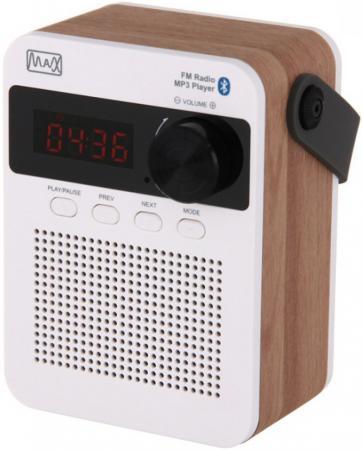 Радиоприемник MAX MR-360 Bluetooth, FM радио, Вход AUX, USB/Micro SD, Время воспроизведения: 8 часов, цвет: Wood/White mr5 usb micro sd tf card reader w cell phone strap max 64gb random color