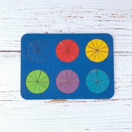 Рамка вкладыш Дроби, Никитин, 6 кругов, ур.3, в асс-те рамка вкладыш woodland 011103 ёжик