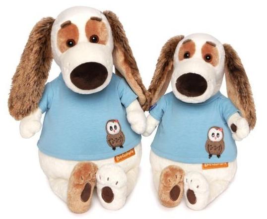 цены Мягкая игрушка собака Зайка Ми Бартоломей в футболке с совой 27 см искусственный мех текстиль пластмасса наполнитель