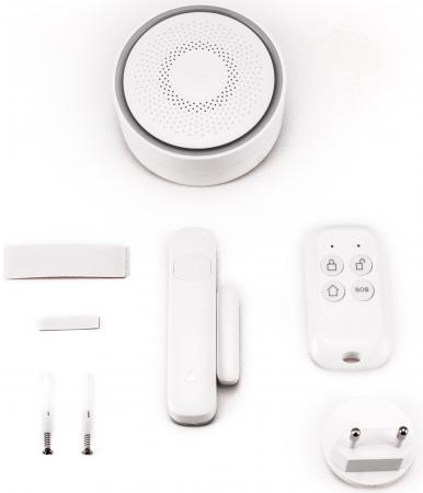 Комплект Wi-Fi охранной сигнализации Gmini AS100WPR , датчик открытия двери/окна, датчик движения, брелок gangqi gq wxyk021 двери и окна охранной сигнализатор беспроводной пульт дистанционного управления магнитное сигнализация окна