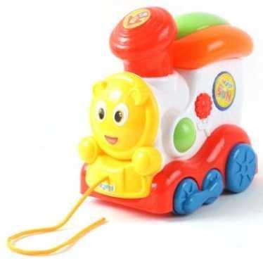 Каталка на шнурке Наша Игрушка Паровозик пластик от 1 года на колесах разноцветный 100621968 каталка на палочке наша игрушка пилот пластик от 1 года на колесах красный 8500 1