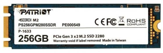 Накопитель SSD Patriot PCI-E x2 256Gb PS256GPM280SSDR Scorch M.2 2280 накопитель ssd patriot pi240gsm3ssdr pi240gsm3ssdr