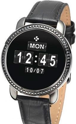 Фитнес-трекер MyKronoz ZeCircle2 SWAROVSKI цвет черный, кожаный ремешок черный цена и фото