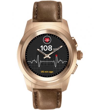 Гибридные смарт часы MyKronoz ZeTime Premium Regular цвет матовое розовое золото, кожаный ремешок цвет коричневый винтаж цена и фото