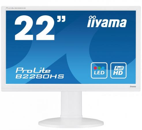 Монитор Iiyama 21.5 ProLite B2280HS-W1 белый TN LED 5ms 16:9 DVI HDMI M/M полуматовая HAS 1000:1 250cd 160гр/160гр 1920x1080 D-Sub FHD 5.2кг монитор iiyama 21 5 prolite t2253mts b1 черный tn led 2ms 16 9 dvi hdmi m m матовая 1000 1 250cd 170гр 160гр 1920x1080 d sub fhd usb touch 5 6кг