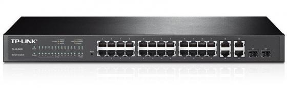 Коммутатор TP-LINK T1500-28TC (TL-SL2428) JetStream Smart коммутатор на 24 порта 10/100 Мбит/с и 4 гигабитных порта коммутатор tp link t1500 28pct smart коммутатор poe на 24 порта 10 100 мбит с и 4 гигабитных порта