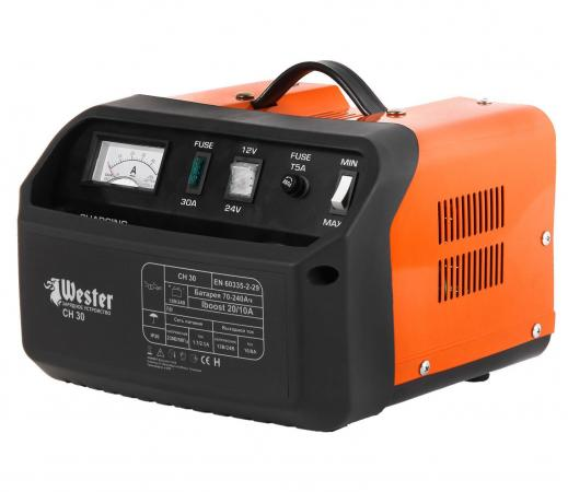 Зарядное устройство WESTER CH30 для АКБ 700Вт 12/24В 20/10А зарядное устройство bosch gax 18v 30 для акб 12 14 4 18 в и usb 1600a011a9