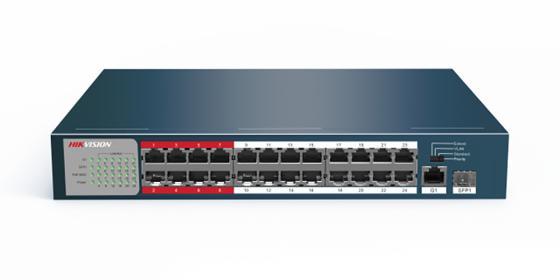 Коммутатор Hikvision DS-3E0326P-E/M 25x100Mb 1SFP 24PoE+ 225W неуправляемый